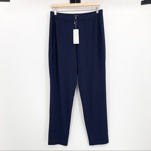 Eileen Fisher Slim Ankle Slouchy Pants Navy Blue